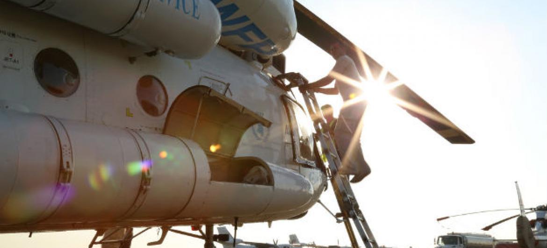Avião de assistência humanitária no aeroporto de Juba, capital do Sudão do Sul. Foto: Ocha