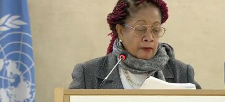 Ministra de Direitos Humanos do Brasil, Luislinda Dias de Valois Santos, discursou nesta segunda-feira na 34ª sessão do Conselho de Direitos Humanos da ONU em Genebra. Imagem: Reprodução vídeo.