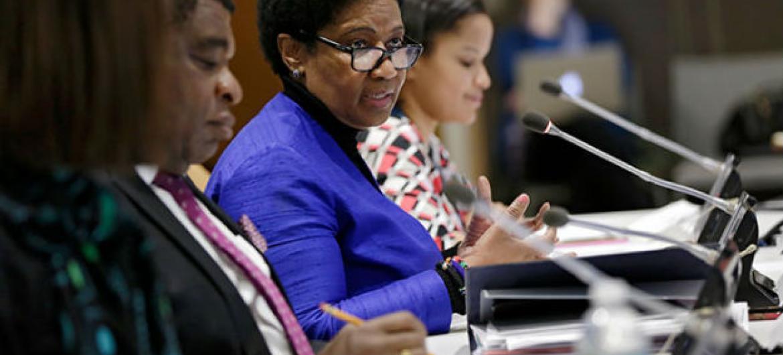 A diretora executiva da ONU Mulheres, Phumzile Mlambo-Ngcuka, em evento na sede da ONU, em Nova Iorque. Foto: ONU Mulheres/Ryan Brown