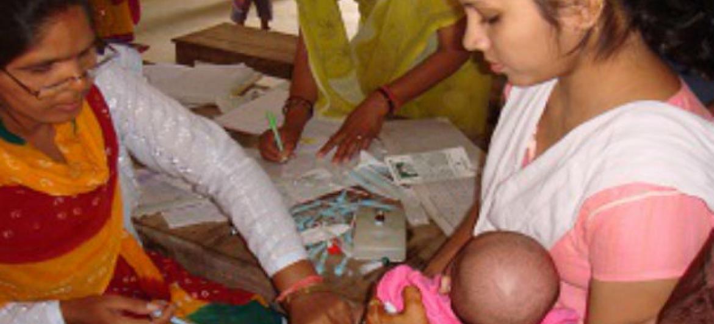 Campanha de vacinação contra o sarampo na Índia. Foto: OMS