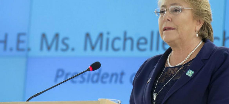 Presidente do Chile, Michelle Bachelet, fala no Conselho de Direitos Humanos da ONU, em Genebra. Foto: ONU/Jean-Marc Ferré