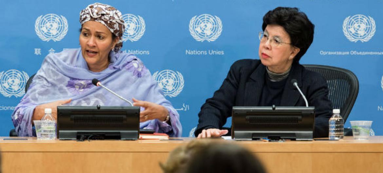 Amina Mohammed (dir) com a diretora-geral da OMS, Margaret Chan (esq).Foto: ONU/Mark Garten