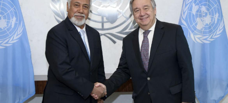 Encontro de Xanana Gusmão com o secretário-geral da ONU, António Guterres. Foto: ONU/Manuel Elias