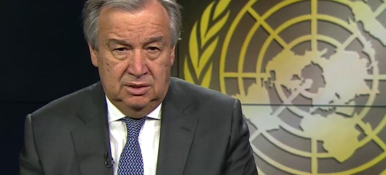 António Guterres nos estúdios da TV ONU. Foto ONU.