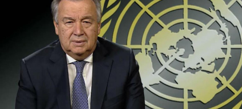 Secretário-geral da ONU, António Guterres, gravou mensagem de vídeo em português para conferência no Timor-Leste. Imagem: Reprodução vídeo.