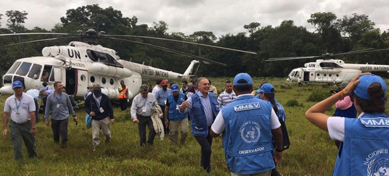 Membros do Conselho de Segurança visitam a região de Meta, na Colômbia, para acompanhar de perto a implementação do plano de paz. Foto: Missão da ONU na Colômbia