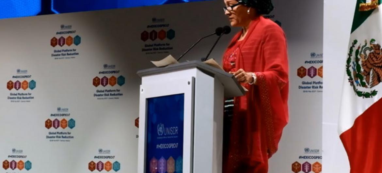 Amina Mohammed discursa na Plataforma Global da Redução de Risco de Desastres, em Cancún.Foto: ONU