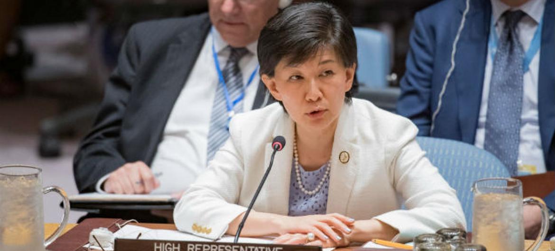 A chefe da ONU para Desarmamento, Izumi Nakamitsu, em reunião no Conselho de Segurança da ONU. Foto: ONU/Manuel Elias