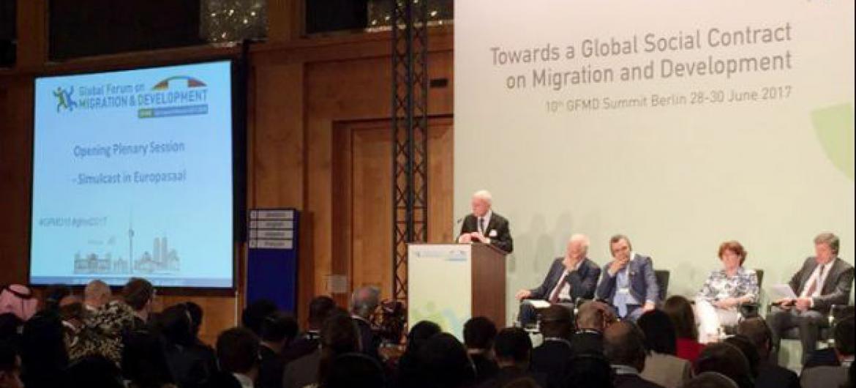 Abertura do Fórum Global sobre Migração e Desenvolvimento, em Berlim. Foto: OIM