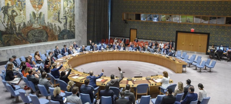 Votação no Conselho de Segurança nesta segunda-feira. Foto: ONU/Manuel Elias