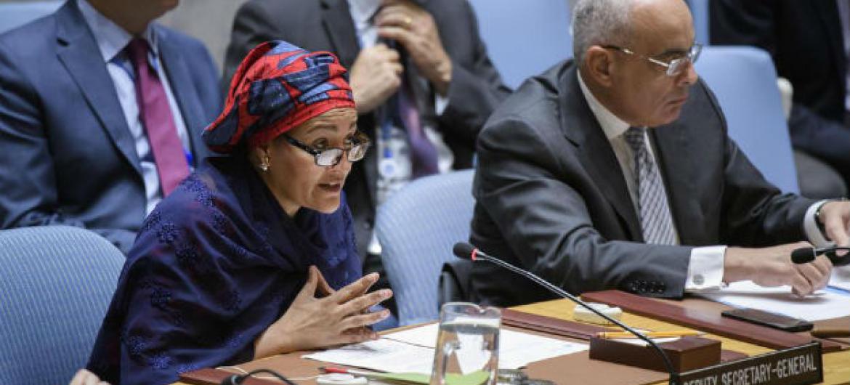 Amina Mohammed no Conselho de Segurança. Foto: ONU/Manuel Elias