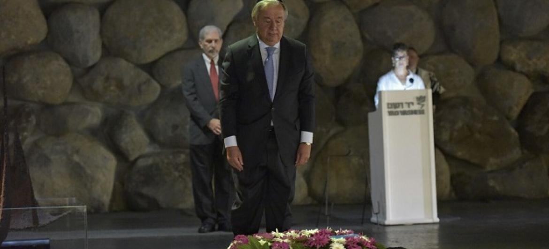 Secretário-geral afirmou que antissemitismo foi resultado da combinação de milénios de perseguição e discriminação do povo judeu. Foto: Shlomi