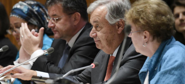 António Guterres em discurso no evento sobre exploração e abuso sexuais. Foto: ONU/Evan Schneider