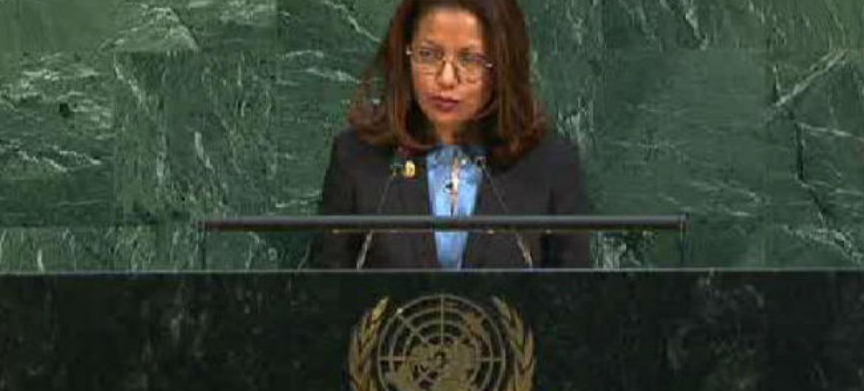 Embaixadora Milena Pires discursa 72ªna Assembleia Geral. Imagem: Reprodução vídeo