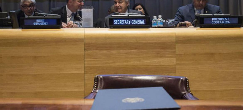 O Tratado sobre Proibição de Armas Nucleares foi assinado por vários chefes de Estado e ministros. Foto: ONU/Kim Haughton