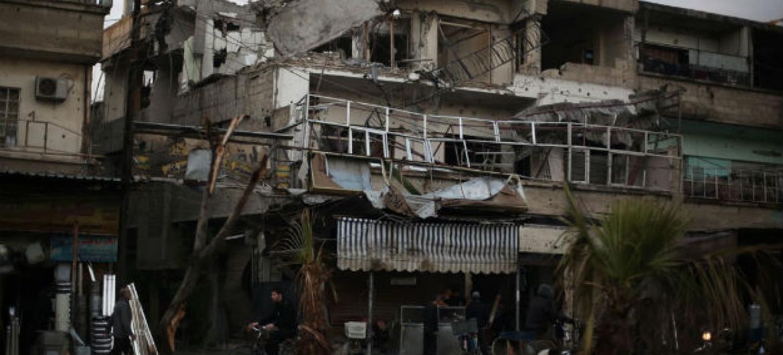 Uma rua em Douma, leste de Ghouta, na Síria. Foto: Unicef/Amer Al Shami