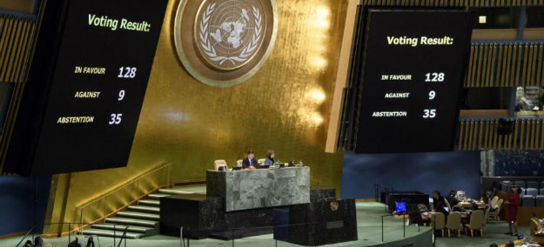 Votação na Assembleia Geral da ONU. Foto: ONU/Manuel Elias