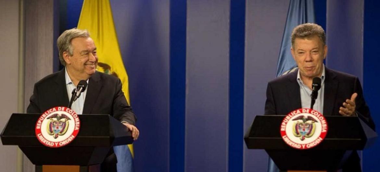 António Guterres e Juan Manuel Santos em entrevista a jornalistas. Foto ONU.