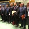 Grupo de diplomatas angolanos que acompanharam a eleição do país ao ciclo do Conselho de Direitos Humanos com início em 2018.