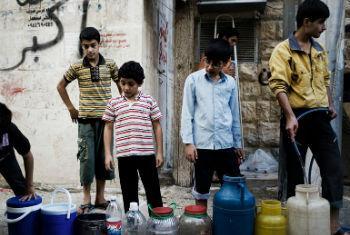 Residentes em Alepo sem acesso a água potável. Foto: Unicef/Romenzi