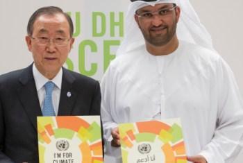 Chefe da ONU e o ministro de Estado dos EAU. Foto:
