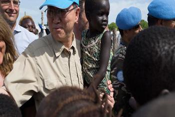 Secretário-geral Ban Ki-moon em visita ao Sudão do Sul. Foto: Unmiss