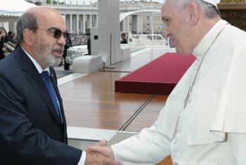 Encontro de José Graziano da Silva e o Papa Francisco. Foto: FAO