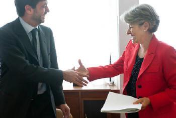 Irina Bokova e Angel Agnelli. Foto: Unesco/F.Gentile