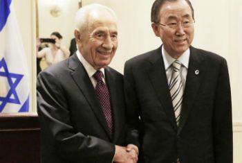 Encontro de Ban Ki-moon com Shimon Peres. Foto: ONU/Evan Schneider