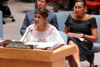 Aichatou Mindaoudou discursa no Conselho de Segurança.Foto: ONU/Devra Berkowitz