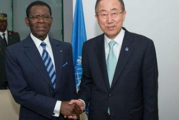 Teodoro Obiang Nguema Mbasogo, presidente da Guiné Equatorial e Ban Ki-moon. Foto: ONU/Eskinder Debebe