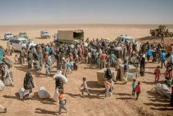 Centenas de refugiados sírios atravessam a fronteira para a Jordânia. Foto: Acnur/J. Kohler