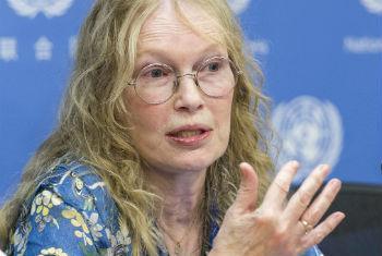 Mia Farrow falou sobre sua recente viagem à República Centro-Africana. Foto: ONU/Mark Garten