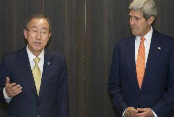 Ban Ki-moon e John Kerry. Foto: ONU/Eskinder Debebe