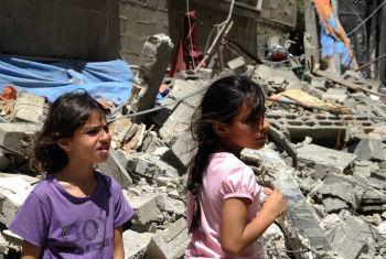 Crianças em Gaza. Foto: Unrwa