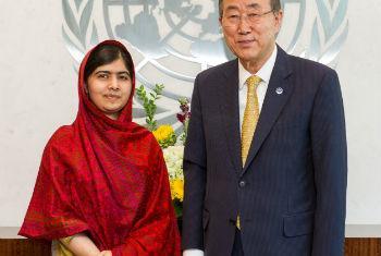 Malala Yousafzai e Ban Ki-moon. Foto: ONU/Mark Garten