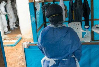 Prevenção do vírus na Libéria. Foto: Unmil/Staton Winter