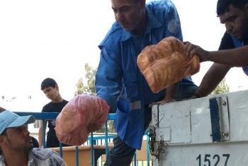 Entrega de alimentos em Gaza. Foto: PMA/Ayman Shublaq