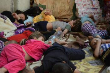 Família iraquiana deslocada. Foto: Acnur/N. Colt