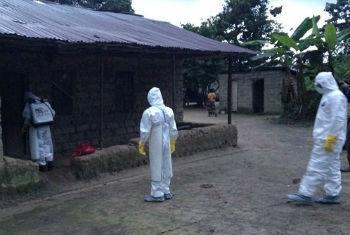 Prevenção do vírus ébola. Foto: OMS/T. Jasarevic
