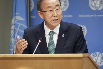 Ban Ki-moon falou a jornalistas nesta terça-feira. Foto: ONU/Paulo Filgueiras