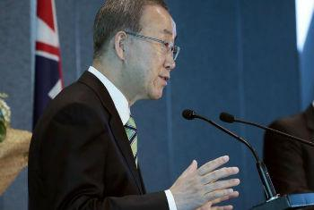 Ban Ki-moon discursa na Nova Zelândia. Foto: ONU/Evan Schneider