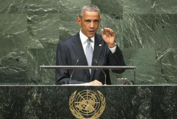 Barack Obama discursa na 69ª Assembleia Geral. Foto: ONU/Cia Pak