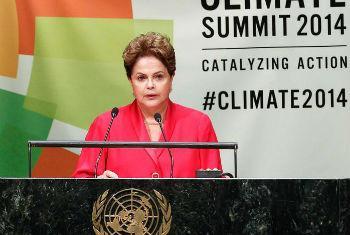 Dilma Rousseff discursa na Cimeira do Clima. Foto: ONU/Amanda Voisard
