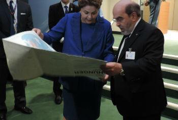 Presidente Dilma Rousseff encontra José Graziano da Silva na sede da ONU. Foto: Rádio ONU