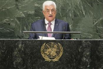 Mahmoud Abbas discursa na Assembleia Geral. Foto: ONU/Amanda Voisard