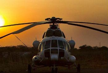 Helicópetro MI-8 no Sudão do Sul. Foto: Unmiss/Martine Perret