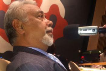 Xanana Gusmão em entrevista à Rádio ONU. Foto: Rádio ONU