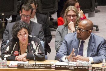 Leila Zerrougui e Forest Whitaker em reunião no Conselho de Segurança. Foto: ONU/Loey Felipe