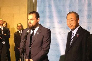 Leonardo DiCaprio e Ban Ki-moon